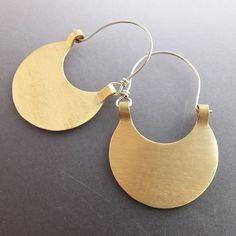 Modern brass and silver hoop earrings, contemporary mixed metal earrings, polished brass earrings