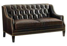 Sloane Tufted Leather Settee, Java