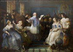 Tableau visible au musée d'Art et d'Histoire de Dreux - Hôtel de Rambouillet-Godeau fait une lecture au salon bleu. Peinture de François Hippolythe Debon (1863).