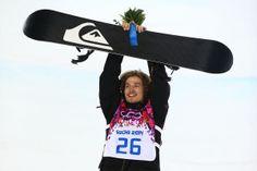 Gold medalist Iouri Podladtchikov of Switzerland celebrates on the podium after his snowboarding halfpipe win!
