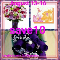 Save 10% off all fresh flowers through Wednesday, August 16. Visit my shopping blog at the link below for details and links.