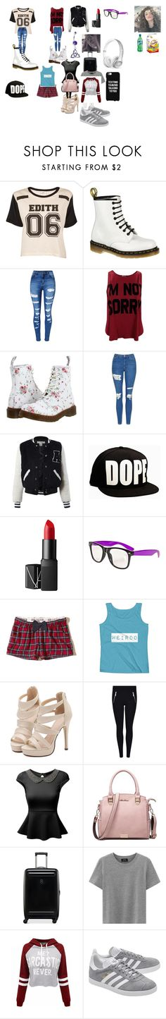 """""""hate or love me pt1"""" by iluvpolyvore-498 ❤ liked on Polyvore featuring Edith A. Miller, Dr. Martens, WithChic, Topshop, Sans Souci, NARS Cosmetics, Hollister Co., MICHAEL Michael Kors, J.TOMSON and Victorinox Swiss Army"""
