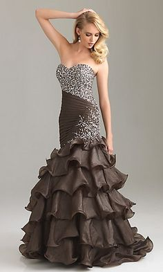Carabella - Deep V-neck beaded gown (Chocolate)  Glitz &amp Glamour ...