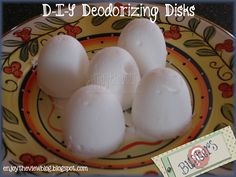 {enjoy the view}: Pin Busters! D-I-Y Deodorizing Disks - Pin-worthy!! Easy & inexpensive to make - does a good job at keeping down odors in the garbage can!