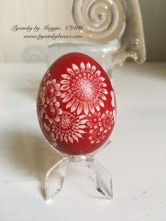 "Pysanky by Maggie, 2016  Polish ""kraszanki"" one colored egg, design is scratched with a sharp tool. www.pysankybasics.com"