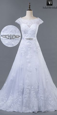 Exquisite Tulle Bateau Neckline A-line Wedding Dress With Lace Appliques & Belt
