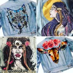 Choose to wear your favorite piece of art! Original art made with fabric paints on denim jacket. Browse through my work to choose an inspiration for your new jacket and leave a comment when check out what you would like to see on your new jacket. Email to hello@anakuni.com for more details, variations or offers Note: it takes 2-3 weeks for order to be completed and its FREE SHIPPPING You can always choose to frame it and hang it on the wall!