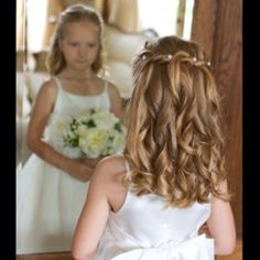 Bridesmaid hair child flower girl flowers wedding wedding ideas dress cute curls waves hairdo crystal crystals pins up twists pretty little bridal hairdresser