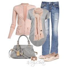 Soft pink & grey casual outfit. <3