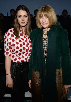 Anna Wintour (R) and daughter Bee Shaffer attend the Diane Von Furstenberg fashion show during Mercedes-Benz Fashion Week Fall 2014 at Spring Studios on Feb. 9, 2014 in New York City.  Photo by Larry Busacca/Getty Images
