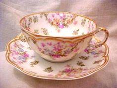 Haviland Limoges Roses/Gold Tea Cup & Saucer, 1893-1930