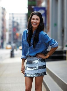 chambray shirt + sequin skirt
