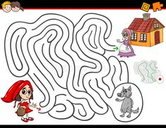 Illustration about Cartoon Illustration of Education Maze or Labyrinth Activity Game for Children with Little Red Riding Hood. Illustration of children, exit, illustration - 110841892 Kindergarten Activities, Classroom Activities, Red Riding Hood Story, Toddler Busy Bags, Psychedelic Drawings, Principles Of Art, Red Art, Renaissance Art, Conte