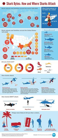 Shark Attack Infographic. Lots of info, little space. Awesome layout.
