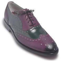 Men Oxford Two Tone Brogue Wingtip Purple Black Leather Shoe Burgundy Brogues, Tan Brogues, Casual Leather Shoes, Suede Leather Shoes, Leather Skin, Two Tone Brogues, Purple Leather Jacket, Purple Shoes, Men's Footwear