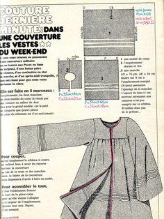 """Aujourd'hui je voulais vous parler du numero 2 de mars 1973, je ne crois pas avoir vu la couverture sur votre blog je vous l'envoie donc, à l'intérieur deux gros coups de coeur, réalisés en """"couture dernière minute"""": une veste du week end réalisée dans... Fashion Design Template, Pattern Fashion, Pattern Cutting, Pattern Mixing, Vintage Sewing Patterns, Clothing Patterns, Diy Tops, Vintage Crafts, Dressmaking"""