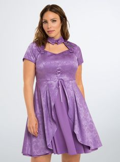 Disney Alice Through the Looking Glass Alice Embroidered Dress.  Choker/Keyhole Neckline is cool, but it would have to be a different color! Neckline:  As shown Sleeves:  3/4 maybe w/a ruffle or flare Skirt:  Mid-Calf to Ankle