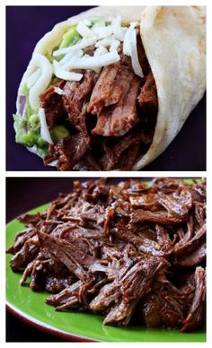 Slow Cooker Shredded Beef Tacos recipe -- I'll take these any day over chipotle.  Easy to make, full of amazing flavor, and this shredded beef is great for dinner leftovers! Serve with a side salad. gimmesomeoven.com #mexican #beef