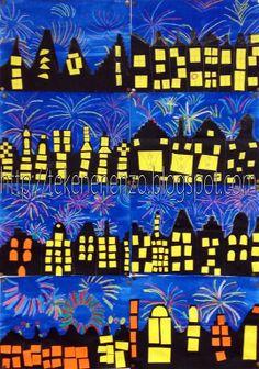 Vuurwerk met skyline van huizen (bron & uitleg: http://tekenenenzo.blogspot.nl/search/label/onderbouw)
