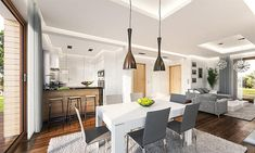 Modern kitchen and dining room Kitchen Dining, Dining Room, Villa Plan, Modern House Design, Interior And Exterior, Living Spaces, House Plans, Construction, How To Plan