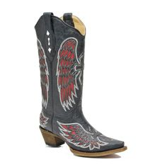Corral A1996 Ladies Black/Red Wing And Cross Boots