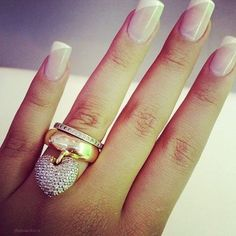 50 French Nails Ideas For Every Bride Bridal Nails, Wedding Nails, Wedding Rings, New Year's Nails, Hair And Nails, Work Nails, New Years Nail Art, Beautiful Nail Designs, French Nails