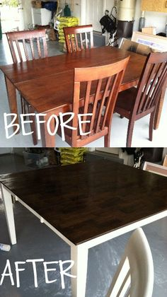 How to: Stain and Paint Your Kitchen Table - Twist Me Pretty This is the actual color of the table top. These pictures are displaying it much darker (with the leaf. so wish i had room for the leaf!) What you will need: RustOleum's White Primer- the co Refinishing Kitchen Tables, Painted Kitchen Tables, Kitchen Furniture, Refinish Table Top, Painted Farmhouse Table, Farmhouse Ideas, Furniture Makeover, Diy Furniture, Furniture Outlet