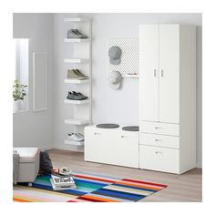 STUVA / FRITIDS Wardrobe with storage bench, white, white, cm. Tall Cabinet Storage, Locker Storage, Ikea Stuva, Kallax, Armoire Ikea, Painted Benches, Soft Closing Hinges, Plastic Drawers, Hanging Clothes