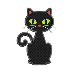 Halloween Black Cat Individual APPLIQUE Machine Embroidery Designs