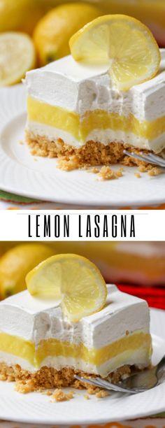 Lemon Lasagna - Pastry World Lemon Dessert Recipes, Lemon Recipes, No Bake Desserts, Easy Desserts, Sweet Recipes, Baking Recipes, Delicious Desserts, Yummy Food, Cake Recipes