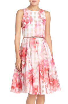 Eliza J Floral Organza Fit & Flare Dress (Regular & Petite)