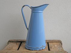 pitcher in bright blue enamel vintage French water by Histoires, $75.00