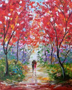 Original Comisión de pintura al óleo paisaje del Romance