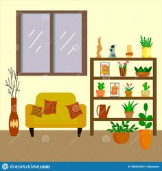 Illustration about The interior design of the room. Sofa and closet with ornamental plants. Flat style vector illustration. Illustration of object, domestic, decoration - 188425438 Interior Sketch, Interior Design, Ornamental Plants, Flat Style, Fashion Flats, Sketches, Sofa, Decoration, Holiday Decor