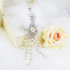 Wedding hair jewlry pearl crystal rhinestone feather tiara bridal hairpins women's head decoration wedding hair accessory