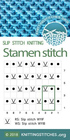 Stamen Stitch also known as Honeycomb stitch, Chinese Wave stitch. Slip Stitch Knitting, Knitting Paterns, Knitting Charts, Loom Knitting, Knitting Socks, Knit Stitches, Honeycomb Stitch, Knit Basket, Vogue Knitting