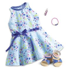 Simply Spring Outfit for Dolls American Girl Outlet, New American Girl Doll, Girls Spring Dresses, Spring Outfits, Girl Online, Blue Sandals, Girl Dolls, Ag Dolls, 18 Inch Doll