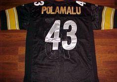 Reebok Field NFL AFC Pittsburgh Steelers Troy Polamalu 43 Sewn Black Jersey 48 #Reebok #PittsburghSteelers