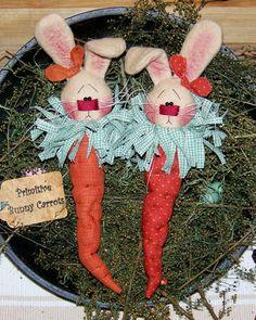 Primitive Bunny Rabbit Carrot Ornies by PrimitivelyPrecious, $11.95
