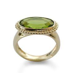 Green gemstone Gold ring Statement ring 14k by artisaneffect