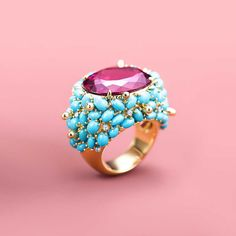 Ring in 18k gold with an 18.02-carat rubellite, turqouise and diamonds. | Tiffany & Co.