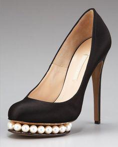 Nicholas Kirkwood  Pearl-Platform Satin Pump  $995.00  For some reason those pearls look like a big grin to me