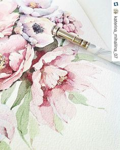Found from @katerina_mihailina_07 I like #watercolorpainting #flower #repost with @repostapp  #flowerpainting #paint #coloring #draw #design #art #botanical