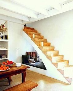 Reading book under the stairs!