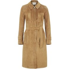 TOPSHOP **Premium Suede Trench Coat ($500) ❤ liked on Polyvore featuring outerwear, coats, tan, trench coat, suede trench coat, brown coat, women coats and tan coat