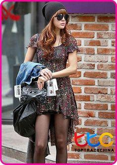2012 dress women summer fashion dress short sleeve chiffon casual dresses