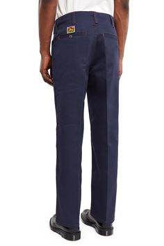 Ben Davis × Opening Ceremony, Trim Fit Pants Ben Davis' original twill blend pant in deep navy is updated with contrast red topstitching and contoured side pockets., Zip fly, button closure, Single welt back pockets with button closure, Belt loops, Straight fit, 50% polyester, 50% cotton, Domestic