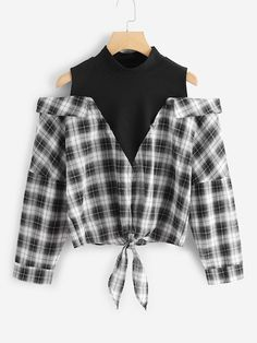 Shop Plaid Cold Shoulder Knot Hem 2 In 1 Blouse online. SHEIN offers Plaid Cold Shoulder Knot Hem 2 In 1 Blouse & more to fit your fashionable needs. Teen Fashion Outfits, Stylish Outfits, Cool Outfits, Mode Swag, Shoulder Knots, Shoulder Sleeve, Cold Shoulder Kurti, Cold Shoulder Shirt, Jugend Mode Outfits