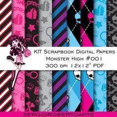 KIT SCRAPBOOK DIGITAL PAPERS - MONSTER HIGH ( PACK #001 )