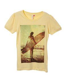 Soft Yellow (Yellow) Teens Yellow Surfer Girl Print T-Shirt | 255208688 | New Look